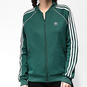 NWOT Adidas 3 Stripe Green Track Jacket Medium